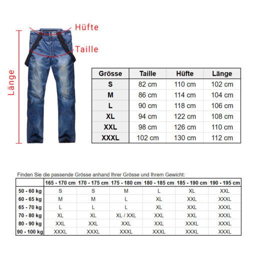 Jeans Skihose Groessentabelle