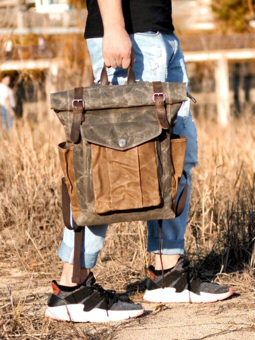 Leder Wanderrucksack, Vintage, Militär Wanderrucksack, Leder