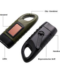 Solar Taschenlampe mit Handkurbel