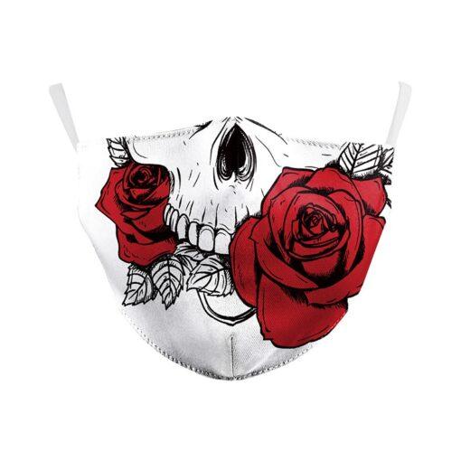 Mundschutz Stoffmaske mit Totenkopf und Rose