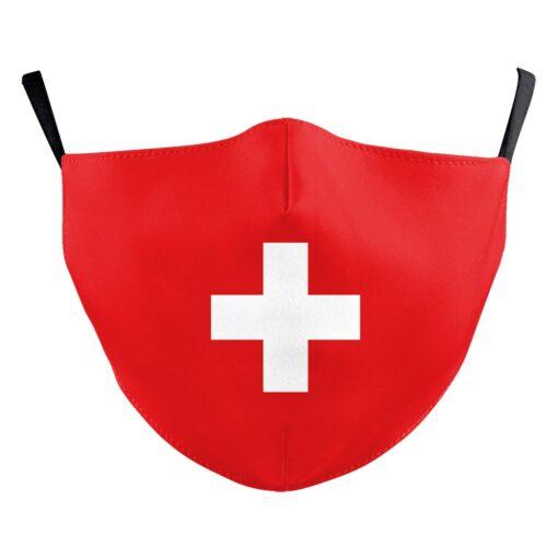 Stoffmaske mit Schweizer Fahne Gesichtsmasken bedruckt