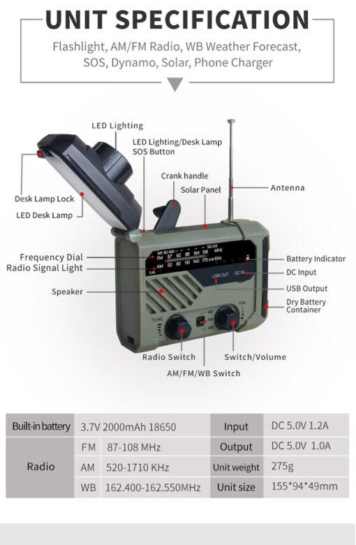 Solar Kurbel Notfall Radio