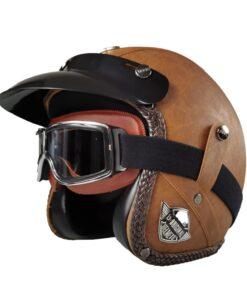 Motorrad Helm Chopper Braun