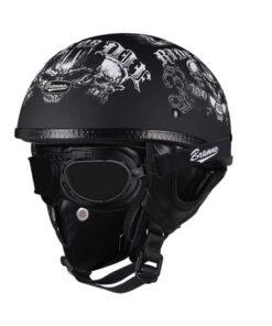 Motorrad-Helm Retro-Chopper Leder mit Maske Schweiz