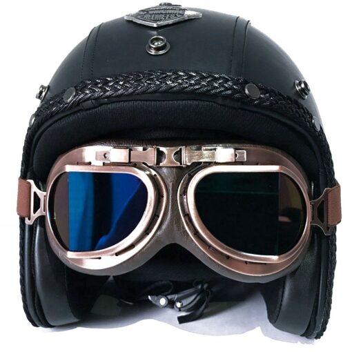 Retro Chopper Helm mit Brille