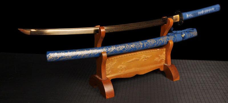 blaues Katana mit Gold Klinge